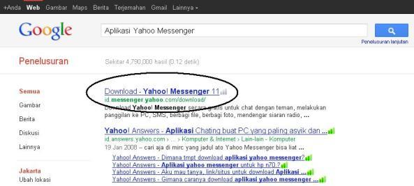 Hasil Pencarian Aplikasi Yahoo! Messenger